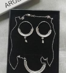 Argentum naušnice i ogrlica sa PT