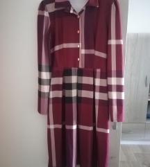 Bordo karirana haljina uni