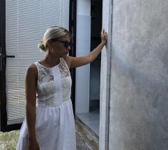 Zara bijela cipkasta haljina XS/S