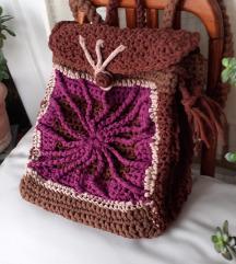 NOVI smeđe-pink heklani ruksak