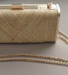 Pletena zlatna torbica