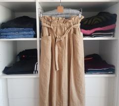Zara midi suknja s etiketom, 100% lan