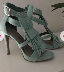 Tirkizne sandale sa resama