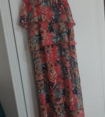 Duga cvjetna leprsava haljina M