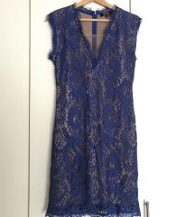 Plava haljina sa čipkom S/M
