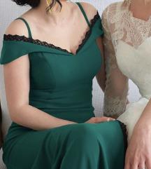 Zelena/maslinasta duga svecana haljina
