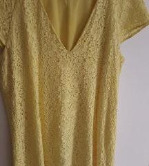Zara zuta cipkasta haljina
