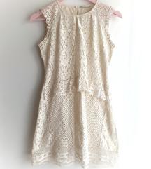 ZARA bijela čipkasta ljetna haljina
