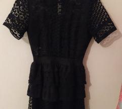 Crna čipkasta Nova haljina