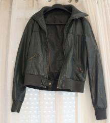 Tamnozelena kožna jakna