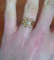 Pozlaćeni prsten bižuterija s cirkončićem