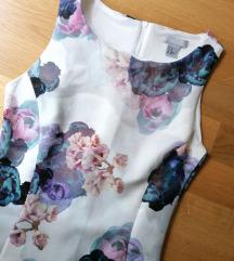 H&M bijela midi cvjetna haljina