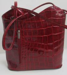 Crvena kožna torba ruksak ***NOVO