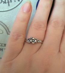 Prsten srebro ružica