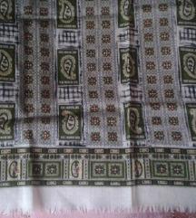 Vunena marama-tamnozeleno/bijelo