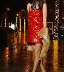 ZARA red sequin haljina