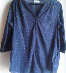 Tamnoplava pamučna bluza s točkicama