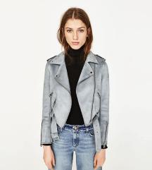 Zara brušena koža svjetlo plava jakna