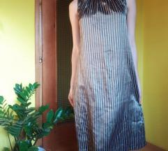 H&M tamnozelena midi haljina s prugicama