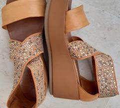 Kožne svjetlosmeđe platforma sandale