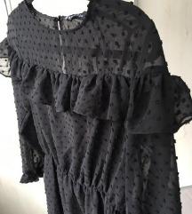 ZARA crna haljina na točke / volani