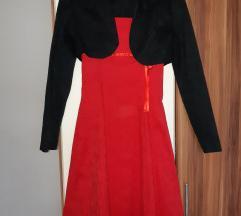 Crvena haljina s bolerom - gratis pt.