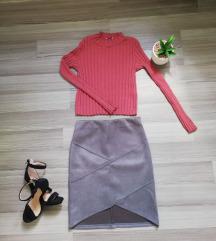 Suknja brušena koža-siva