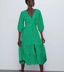 NOVO zelena točkasta haljina
