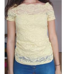 Žuta čipkasta majica