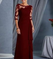Duga crvena svečana haljina