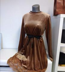 Plišana haljina s čipkom