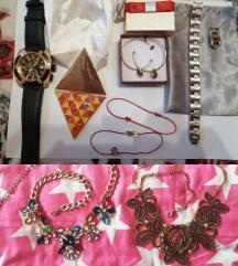 narukvice, naušnice, sat, ogrlice LOT nakita