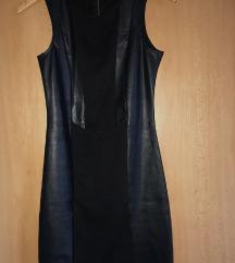 Crna kožna uska haljina