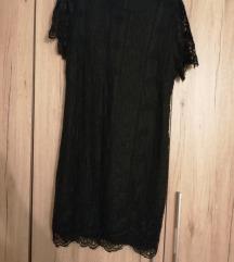 Crna čipkasta haljina XL 40 kn