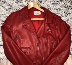 Kratka crvena kozna jakna