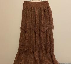 Smeđa boho duga suknja