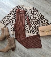 Nenošene Zara flared knit metallic hlače