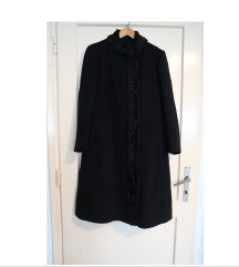 Ženski dugački crni zimski kaput vel. M/L