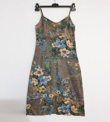 Khaki cvjetna ljetna haljina s britelicama