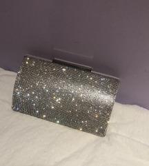 Lipsy srebrna clutch torbica s lancem