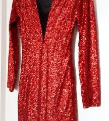 Crvena šljokičasta haljina S-M