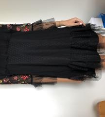 Zara crna haljina s cvjetićima