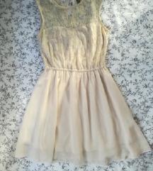 Elegantna krem haljina s čipkom