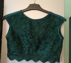 Zeleni čipka komplet (top i suknja)