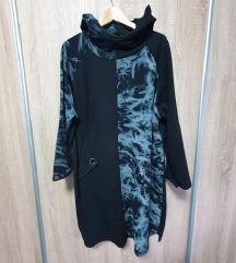 Pamučna haljina/tunika s džepom i kapuljačom