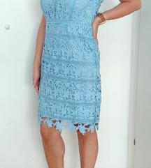 Nova baby-blue haljina od krupne čipke