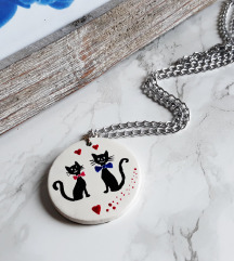 Medaljon dvije mace/srce+lančić