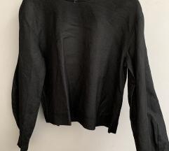 COS spricano crna lanena bluza s puf rukavima