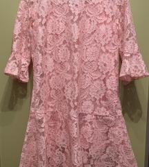 Cipkana roza svecana haljina