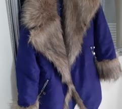 Plava zimska jakna sa bogatim krznom%%